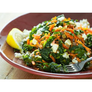 Greens With Carrots and Feta Cheese and Brown Rice.