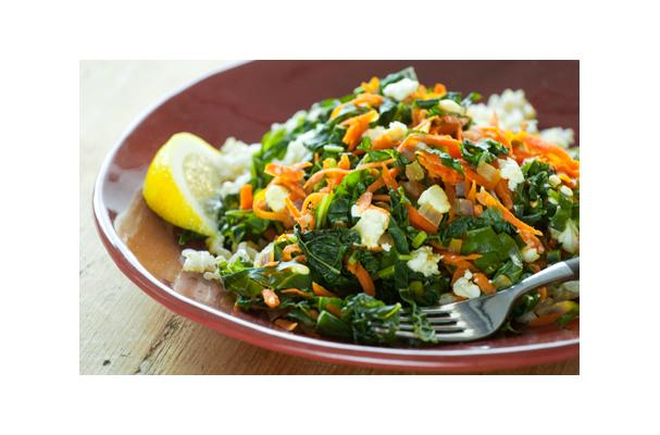 Greens with Carrots and Feta Cheese and Brown Rice Recipe