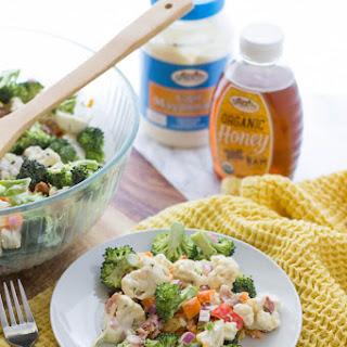 Sweet Cauliflower and Broccoli Salad with Bacon.