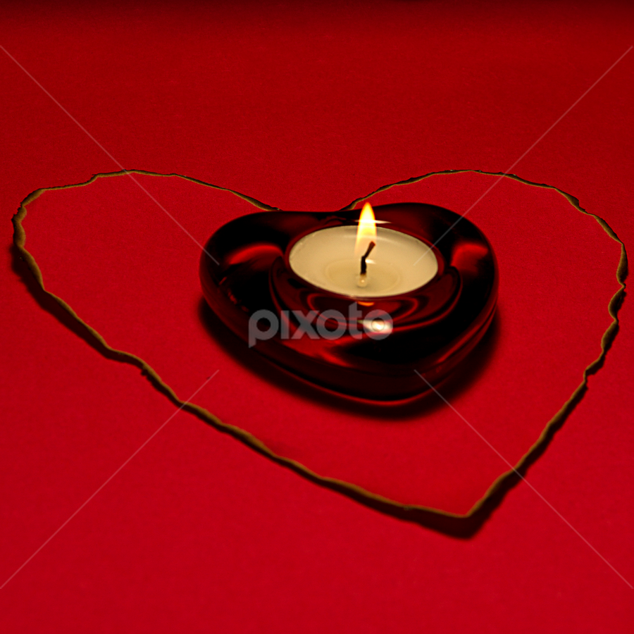 Heart Candle by SumPics Photography - Public Holidays Valentines Day ( love, tea light holder, contruction paper, candle, heart, red, valentine, burn, fire, flame, tea light )