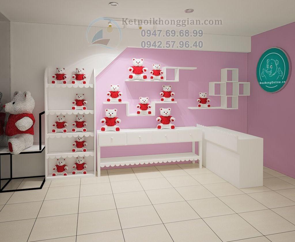 thiết kế cửa hàng gấu bông tinh tế, hợp lý