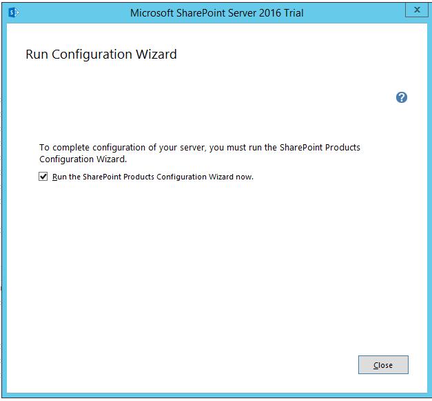 SharePoint 2016 Run Configuration Wizard