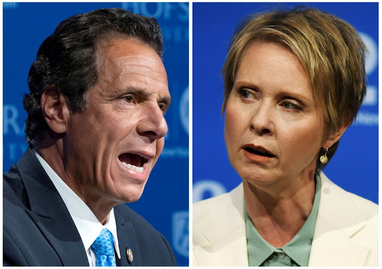 A combination photo of Governor Andrew M. Cuomo and actress and activist Cynthia Nixon, a first-time candidate mounting a challenge in the New York Democratic primary election, are shown during a televised debate in Hempstead, New York, on August 29 2018.