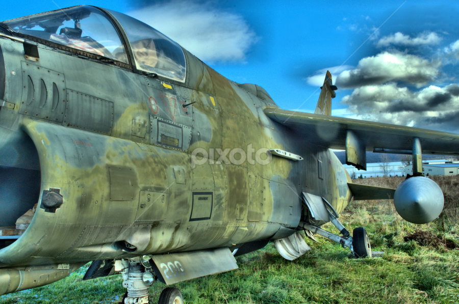 Ling-Temco-Vought A-7D (Corsair II) by Jim Davis - Transportation Airplanes ( intake, cockpit, u.s. airforce, corsair, aircraft, retired aircraft, jet fighter, us navy, a-7d, military )