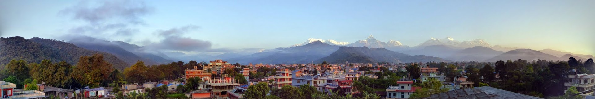 Panorama view of Himalaya range from Pokhara, Nepal