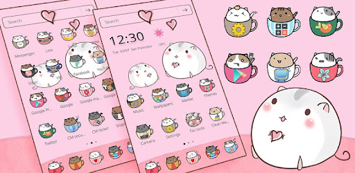 Cute Cup Cat Theme Kitty Wallpaper & icon pack app (apk) free download for Android/PC/Windows screenshot