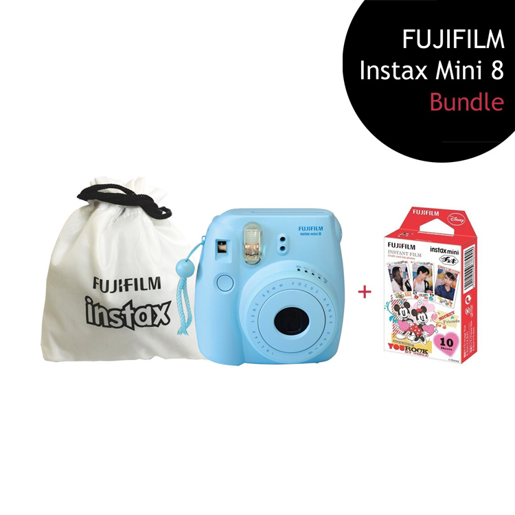 [Bundle] FUJIFILM Instax Mini 8 Camera (Blue) + Mickey Mouse Film Pack + Instax Pouch by My Pocket Net Sdn Bhd