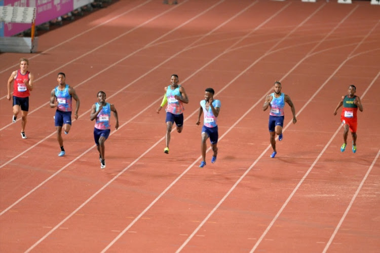 Anaso Jobodwana, Clarence Munyai, Luxolo Adams, Trentavis Friday,Isaac Makwala, Retshidisitswe,Hendrick Maartens and Justin Walker during day 1 of the Athletix Grand Prix at Ruimsig Athletics Stadium on February 28, 2018 in Johannesburg.