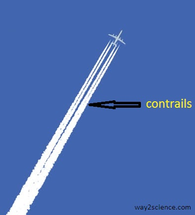 contrails happening in airplane