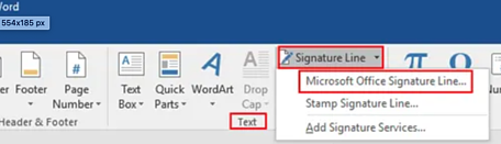 Inserting a signature line in Microsoft Word