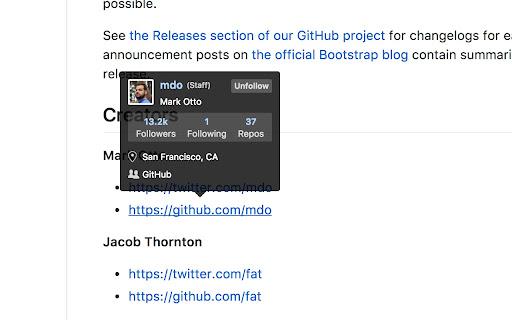 Screenshot of GitHub Hovercard for Chrome