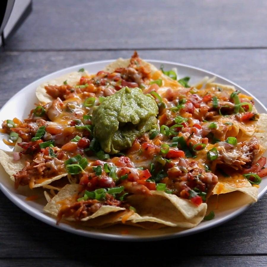 Microwave 4-minute BBQ Chicken Nachos perfect for living during a kitchen renovation