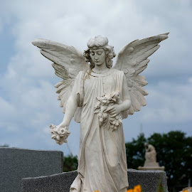 Angel with Flowers by Brenda Shoemake - City,  Street & Park  Cemeteries
