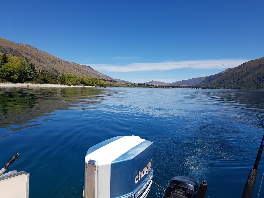 Fishing Lake Wakatipu by Perla Tortosa - Sports & Fitness Watersports ( mountains, nature, blue, lake, fishing, boat, stillness,  )