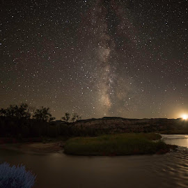 Chama River, New Mexico by Barbara McCourt - Landscapes Starscapes ( moon setting, stars, reflections, land of enchantment, river ripples, abiquiu, chama river, river, new mexico, milky way,  )