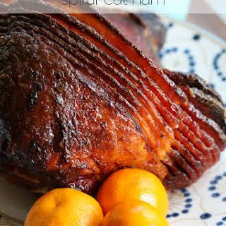 Orange and Brown Sugar-Glazed Spiral-Cut Ham.