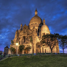 Photo: La Basilique du Sacre Coeur de Montmatre  This is a famous basilica in Paris.  It sits high on a hill and is beautifully lit in the evening.  This is the birthplace of the Jesuits back in 1534.  That is only interesting to me because I was a Jesuit student myself back in the day.  You would think that would mean that I would be allowed to come inside to take all the photos I want with a special key that everyone gets upon graduation.  But I had no such key so I was forced to stay on the perimeter with all the other heathens.   from Trey Ratcliff at http://www.StuckInCustoms.com