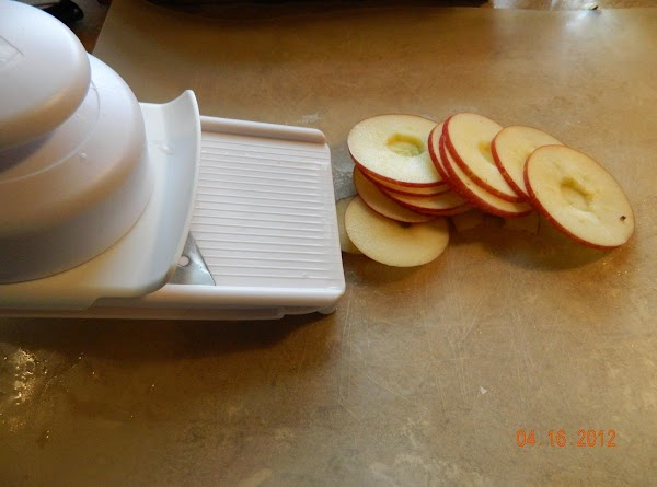 Core and slice apples into rings or slices. Slice about 1/8in. if you want...
