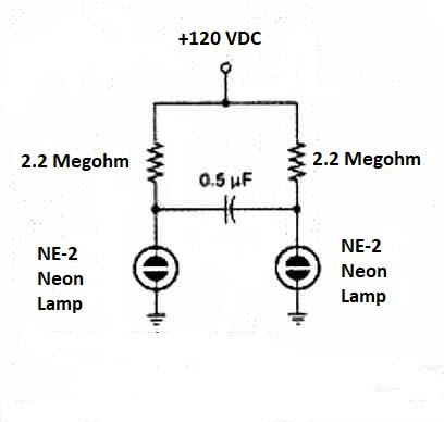 带有NE-2型灯的非稳态霓虹灯闪光器电路图
