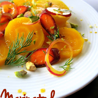 Marinated Golden Beet Salad with Carrots, Dill, & Pistachios