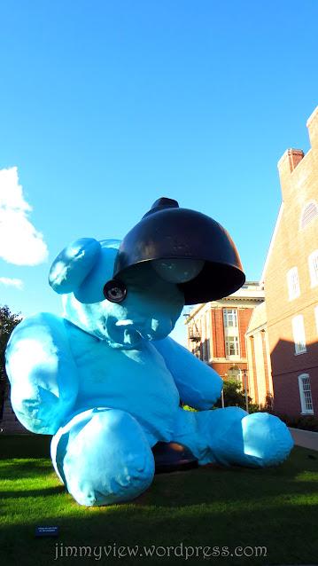 Lamp/Bear Sculpture on Simmons Quadrangle