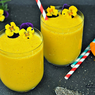 Turmeric Mango Smoothie with Ginger and Chia.