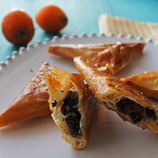 Crispy Triangles with Black Sausage, Loquat and Curry.