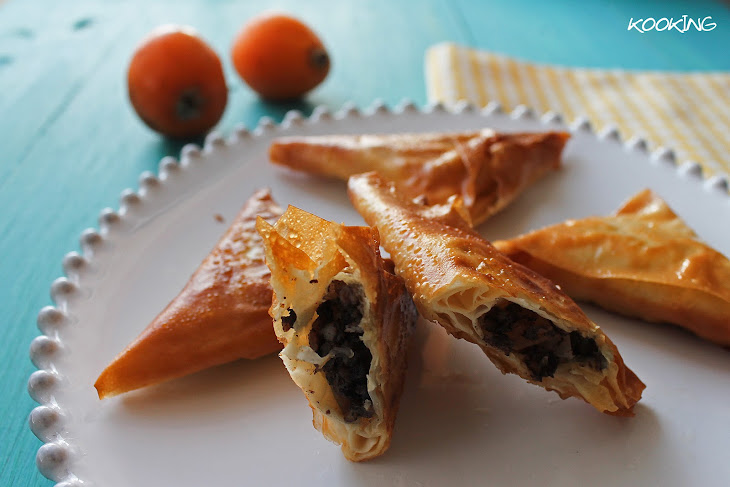 Crispy Triangles with Black Sausage, Loquat and Curry Recipe