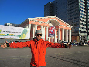 Photo: Mark in front of the national theatre building
