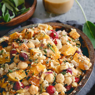 Roasted Sweet Potato, Squash and Chickpea Fall Salad with Maple Tahini Dressing.