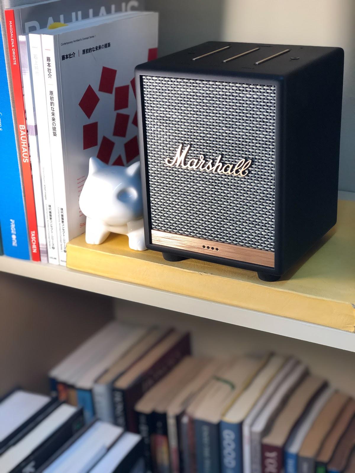 Marshall Uxbridge Voice on a bookshelf