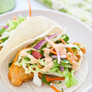 Fish Tacos with Yum Yum Sauce.