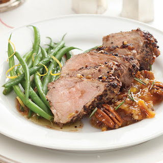 Peppered Pork Pork Tenderloin and Citrus Pecan Chutney
