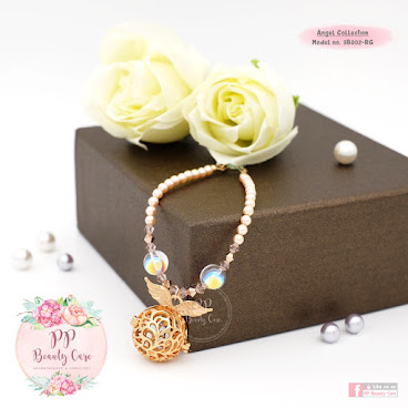 3B002-RG Angel Collection: Swarovski pearl ​Rose Gold essential oil bracelet diffuser 天使系列: ​Swarovski​珍珠玫瑰金精油手鏈