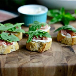 Peach, Prosciutto + Goat Cheese Crostini Recipe