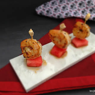 Shrimp and Watermelon Skewer Appetizers.