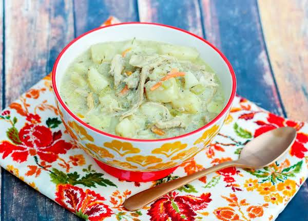 A Comforting Bowl Of Creamy Turkey Soup.