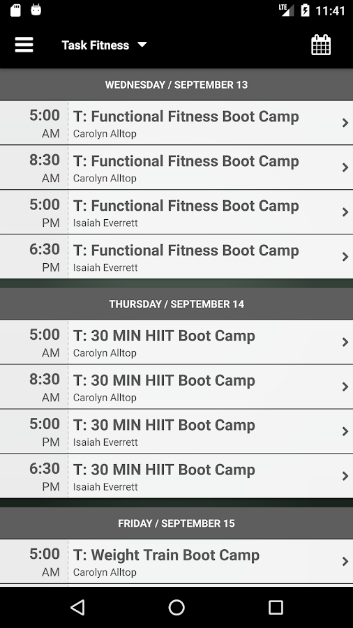 Task Fitness- screenshot