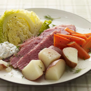 Slow Cooker Corned Beef Dinner with Horseradish-Dill Sauce.