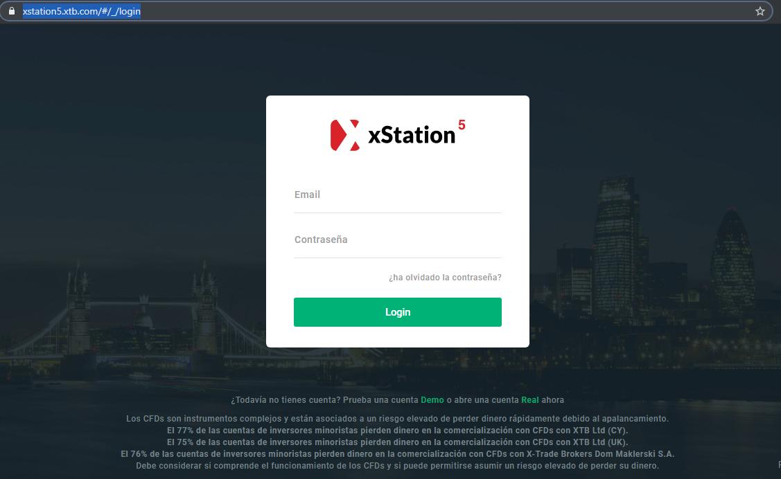 Versión web de xStation5 para invertir en criptomonedas