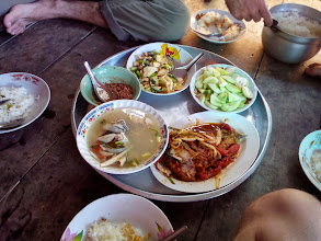 Photo: Cabbage, with mushrooms in a oyster sauce, fried fish with chili sauce and tom yom fish. Cooked in the kitchen you just saw