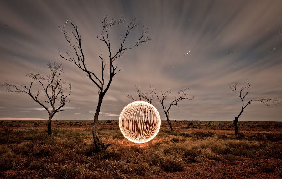 Morning Orb by Steve Chilton - Abstract Light Painting ( desert, light painting, long exposure, landscape, light )