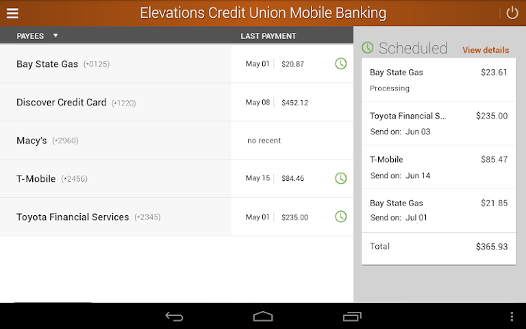 android Elevations Credit Union Mobile Screenshot 8
