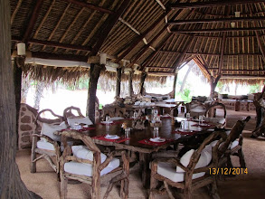 Photo: Main dining area and bar at Galdessa - table was set for a large family group