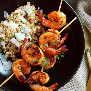Spanish Grilled Shrimp Skewers and Pomodoro Risotto.