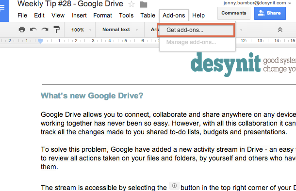 Google Drive and the new add-ons feature - Jenny's Weekly