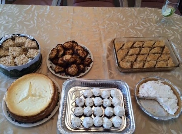 My Easter dessert table with the Baklava in the top right corner.  Yummy.....