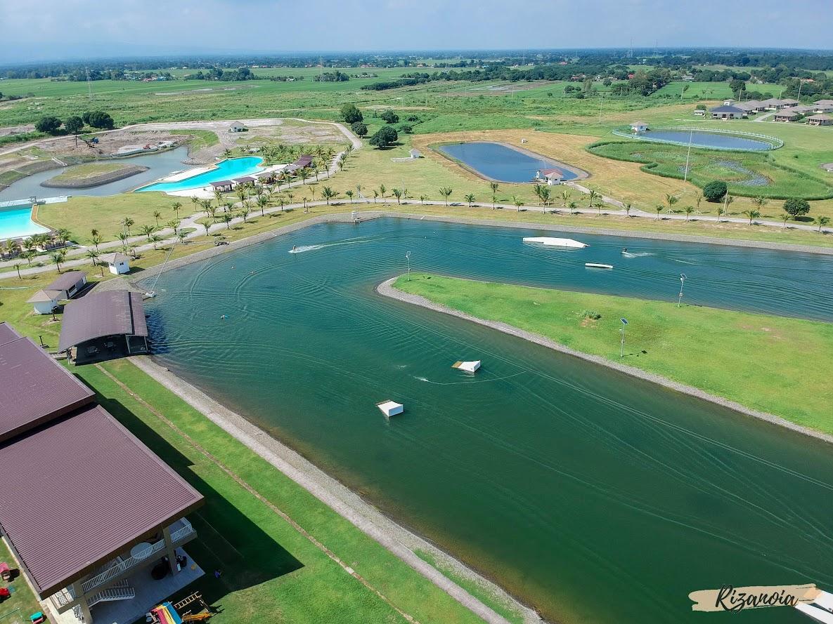 drone shot of wakeboard park in Pradera Verde