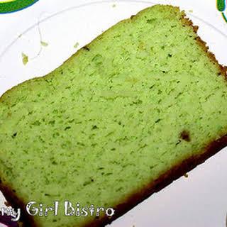 Pistachio Pound Cake with Pineapple Cream Icing.