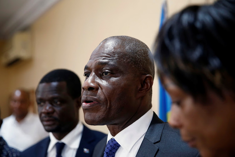 Martin Fayulu Congolese joint opposition presidential candidate speaks during a press conference in Kinshasa, Democratic Republic of Congo, January 8 2019.